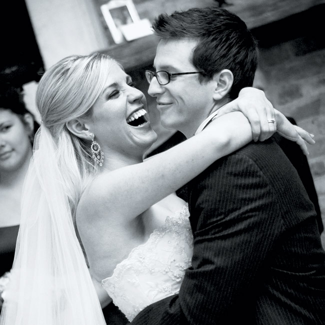 """Guests danced the night away as a DJ played music throughout the cocktail hour and reception. But before the dance floor was opened up to everyone, Ashley and Jeremy had their first dance to Ryan Adams' """"When the Stars Go Blue."""""""