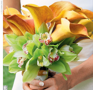 Dianes bouquet was a bundle of mango calla lilies (for the clean, elegant lines) surrounded by a ring of green orchids (because her father grows orchids) and wrapped with a white satin ribbon.