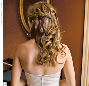 Carson's long, soft, wedding curls were styled at Bob Salon in Athens.