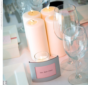 Tables were marked with labeled votive candles.