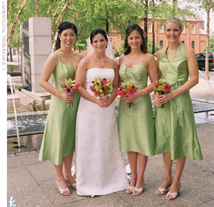 Jennies bridesmaids could choose their own style of silk dupioni, knee-length dress by Watters &amp; Watters.