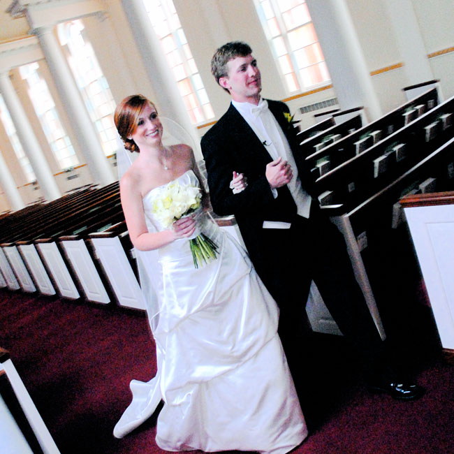 Jennifer and David recited their vows in front of friends and family at the First Baptist Church.