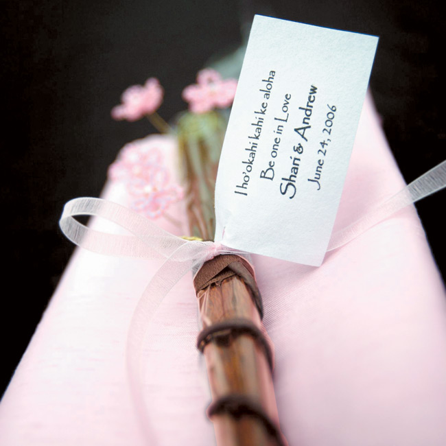 Shari's sister created the favors, which were beaded cherry blossoms wrapped around wooden chopsticks.