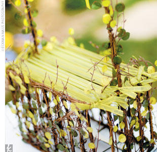 In lieu of a traditional birdcage, Cheryl and Brian decorated a basket with lime green ribbons for guests to place their wedding cards in.