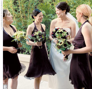 The bridesmaids wore halter-style cocktail-length dresses in chocolate-brown.