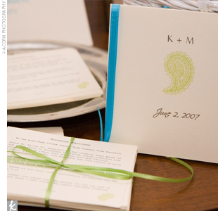 The funky green paisley programs were printed onto white card stock and tied off with a blue ribbon.