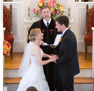 The couple said their vows in the bride's hometown church, a historic structure built in 1814.