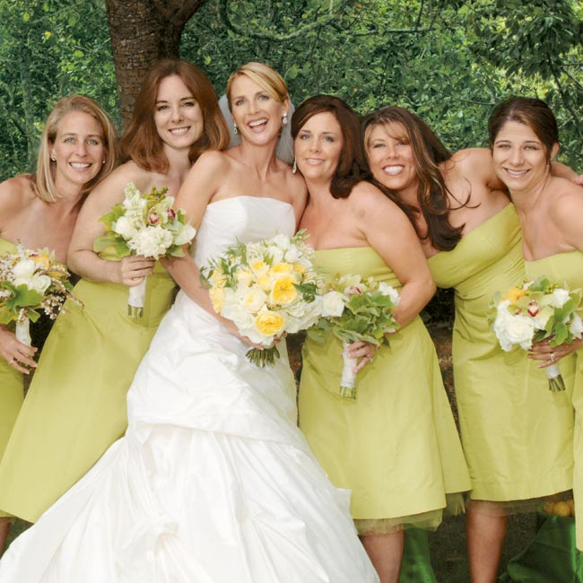 Jenifer's six bridesmaids wore strapless, chartreuse-colored silk dresses with full skirts and tulle underskirts.