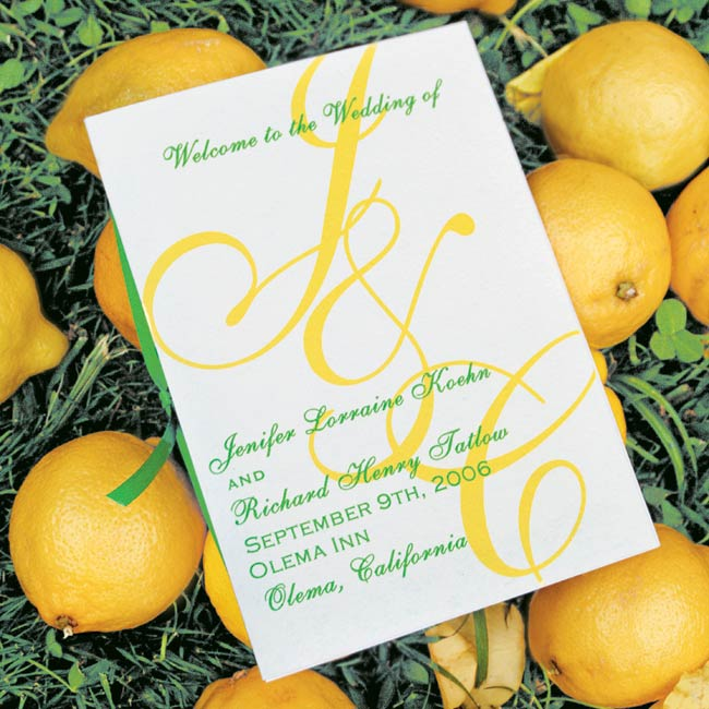 Jenifer and Chip's color scheme was prevalent in their cream-colored invites with lemon yellow and lime green fonts.