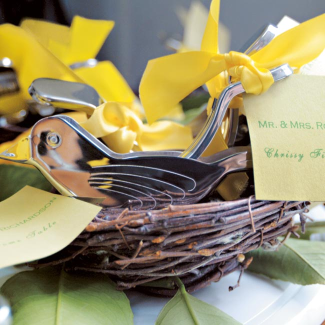 After their unforgettable evening (which included Chip and a few fraternity friends giving Jenifer a surprise barbershop quartet–style serenade), the couple gave their guests vintage bird-shaped lemon juicers that acted as place cards, favors, and one last reminder of the couple's vibrant wedding style.