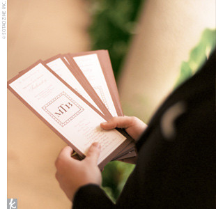 The mother of the bride created the programs, which incorporated the couples monogram logo.