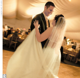 "Before their guests joined them on the dance floor, Jessica and Corey took a spin to Tony Bennett's ""The Way You Look Tonight"" for their first dance."