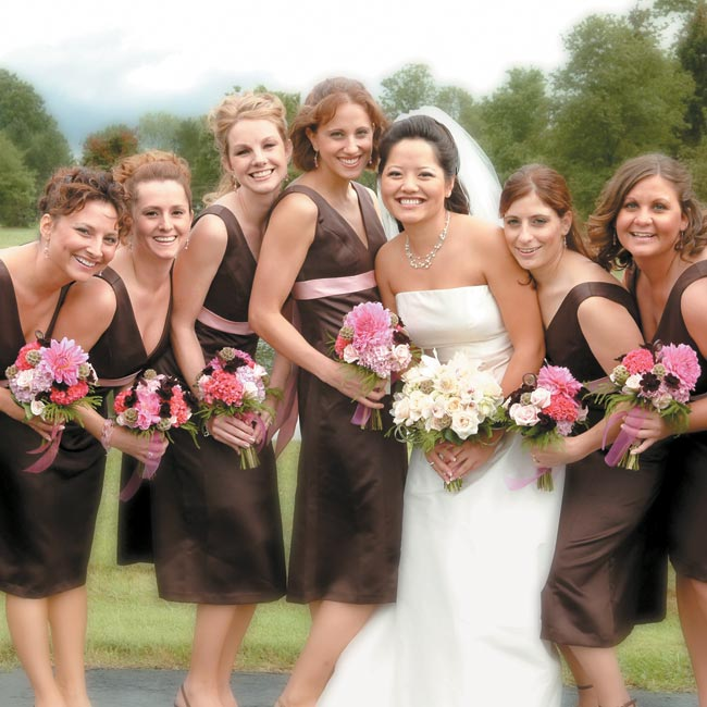 Chocolate Brown Bridesmaid Dresses Tied Into The Color