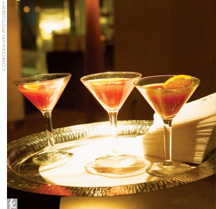 The couple's signature drink -- a pomegranate martini -- was passed around to guests as they entered the cocktail hour.