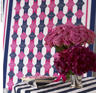 For a recent photo shoot for The Knot, F&#234;te created a pink and navy escort card display. 