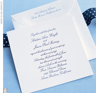 Your invitations set the stage for the event -- and establish the style you want to evoke. Coordinating them with your palette can be as easy as choosing a color font or ribbon, or as elaborate as layering color-coordinated cards. We selected a letterpress invite, scripted in our signature navy color, and added a navy-and-white polka-dot ribbon tha ...