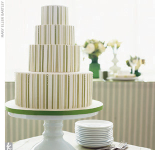 Theme #1: StripesTo create a cohesive look, carry your theme throughout. Our striped rolled fondant cake highlights the intricate letterpress  invitation design by Dauphine Press.