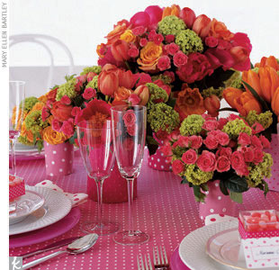 Theme #3: DotsPink polka dots -- bright, playful, and fun -- are a perfect motif for a wedding that is super sweet (and far from stuffy). Keep it chic by mixing up the centerpieces. Our florist created five gorgeous floral arrangements in shades of pink and orange to make this table really pop. Combinations of roses, calla lilies, tulips, peonies,  ...