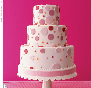 Theme #3: DotsRemember, the look of your cake is as important as the dessert itself! Here, even the cake stand plays off the shape of the fondant pink polka dots on the cake.
