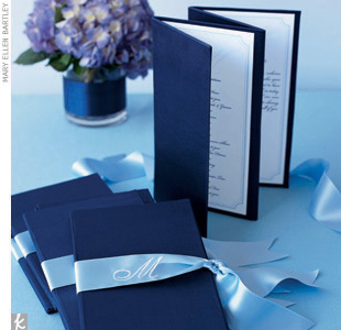 Theme #4: LettersThe best part about a monogram motif? It can go classic or contemporary. The complicated part is knowing how to use your names, initials, or new married monogram (her first initial–new last name initial–his first initial) without drowning your wedding in it. Make a good first impression: Get creative with the wedding programs. Thes ...