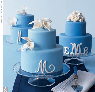 Theme #4: LettersWe followed with the wedding cake. Rather than making just one outstanding cake, our cake baker created three table cakes all iced in periwinkle fondant and decorated with white sugar flowerseach sporting a unique monogram. Cake server, Rosanna