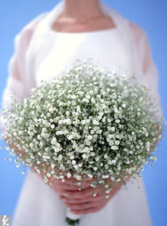 Think baby's breath is old fashioned? Think again. When used on its own in a massive mound, this delicate little flower has an entirely fresh appeal. Bonus: Baby's breath is inexpensive, making this a very affordable bouquet. It also dries beautifully.