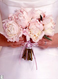 Peonies look lush and lovely when tied with a simple thin ribbon.