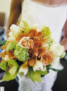 Roses, hydrangea, tulips and orchids mix beautifully together.