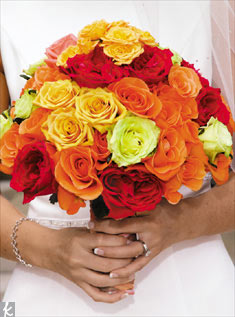 Roses in all colors makes this a bright and bold bunch.