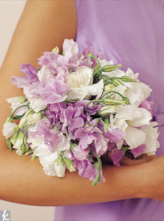 A nosegay of lavender sweet peas and white lisianthus flowers is soft and pretty.