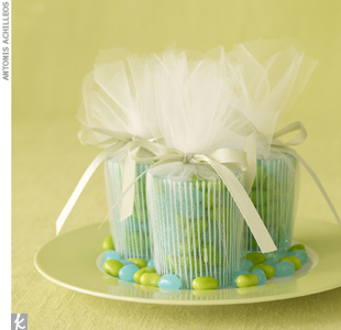 Cool Breeze striped votive favors, $8 for a set of three, PlumParty.com; jelly beans, $7.99 per pound, Jelly Belly (800) 522-2367, Jellybelly.com; ribbon, Midoriribbon.com; green plate, Michael C. Fina, (212) 557-2500, MichaelCFina.com