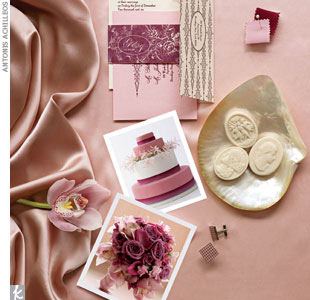 blush + mauveGillian & Joshua invitation, $1,975 for a 5-piece set of 100, Ceci New York, (212) 989-0695, CeciNewYork.com