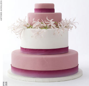 Four-tiered cake with dusty rose and white rolled fondant, $10-$14 per slice, Cheryl Kleinman Cakes, (718) 237-2271