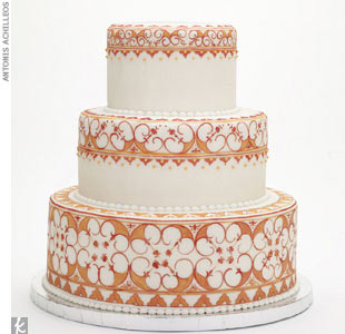 Hand-painted three-tiered cake with rolled fondant, $12 per slice, by Ruth Seidler for JollyBe Bakery, (718) 965-1651, JollyBeBakery.com