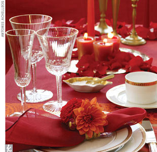 Table set up and napkin decorated with a corsage of dahlias and wrapped in gold ribbon, $30, Jeffrey Marcus for JM Visuals, (212) 929-1686, JMVisuals.com