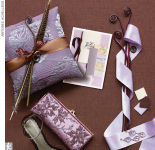 lavender + cream + chocolateHarris bands (shown on ring pillow) in pure platinum, $1,400 women's and $2,400 men's, MaeVona, (212) 557-7300 for retailersSwarovski crystal and platinum plated earrings, $176, RobertaChiarella.com; lavender ribbon, Midoriribbons.comPurple silk clutch with embroidery and sequins, $189, Moyna, (212) 967-0760, MoynaBags.c ...