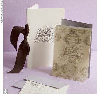Adriana & Tony programs and invitations, $2,475 for a 6-piece set of 100, Ceci New York, (212) 989-0695, CeciNewYork.com