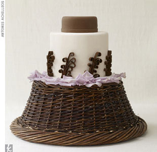 Two-tiered, ginger, jar-shaped cake in chocolate brown and ivory rolled fondant, $10-14 per slice, Cheryl Kleinman Cakes, (718) 237-2271; cake display, Jorge Cazzorla/Celebrate Flowers with Charles Hervish and Christine Coppinger of Swank Productions, (212) 643-3211, SwankProductions.com