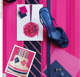 "fuchsia + navy""Oriana"" satin pleated peep-toe shoes with bow, $69.95, Nina, NinaShoes.com""Kat"" engraved square wedding invitation in Azalea with white ink; Midnight blue reception card engraved with Azalea ink , Mia Carta, approximately $27 per invited based on quantity of 100, $2700 for 100 (888) 541-0501, MiaCarta.comSilvertone with blue checkerb ..."