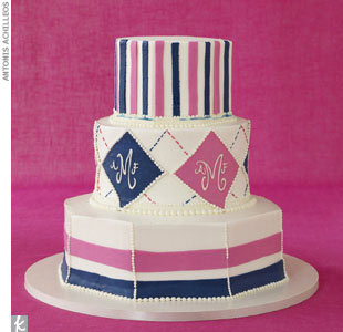 Custom-designed pink and blue cake with buttercream, price upon request, Sylvia Weinstock Cakes, (212) 925-6698, SylviaWeinstockCakes.com