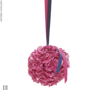 Flower girl kissing ball with pink and navy ribbon, starting at $125, Jung Lee for Fete Design, (212) 725-7268, FeteNY.com