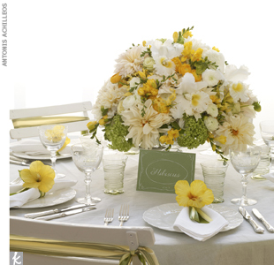 Table set with centerpiece, starting at $350, by Jung Lee for Fete Design, (212) 725-7268, FeteNY.com; calligraphy for table card, Anne Robin Calligraphy  (917) 863-0899, AnneRobin.com