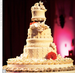 This four-tiered confection added an elegant touch, with it's smooth fondant and lacy truffles at the base.
