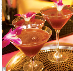 A bright bloom garnish can give your signature cocktails a touch of glamour.