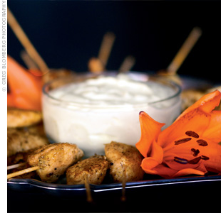 Who says finger foods can't be elegant? Guests gobbled up these gourmet skewers.