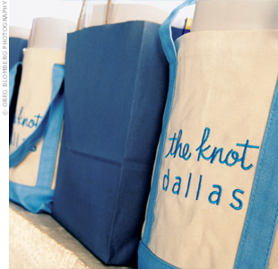 Guests took home personalized canvas totes chock-full of goodies like The Knot magazines.