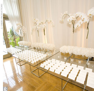 Marina turned an escort card display into a piece of contemporary art. Here, a linear display showcased crisp, white escort cards set up on a glass tabletop with chrome legs. A bed of hydrangeas with vases of phalaenopsis orchids created a geometric look.