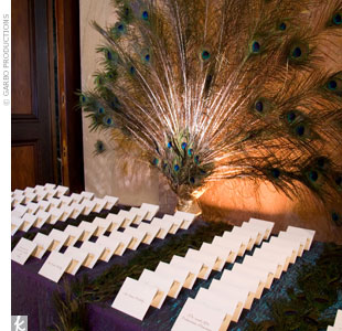 A spray of peacock feathers was a symbolic backdrop for an escort card display at an Indian wedding. Inspired by the invitation, which also featured peacock feathers, Marina separated the escort cards with rows of peacock feathers as well. The cards themselves were made with heavy white card stock that was backed with iridescent green paper and had ...