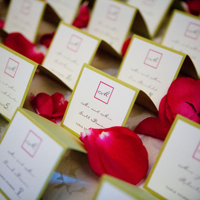 Square escort cards were displayed in simple rows on a table outside of the conservatory. The identical cards matched the style of the invitations and place cards. They were made of heavy card stock in citron green and lined with ivory paper. Each guest's name was printed in a mocha-colored font.