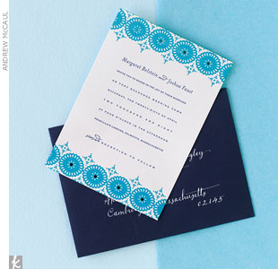 Set the seaside-inspired mood with a two-toned modern letterpress 
